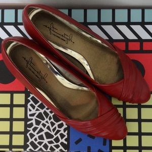 Vintage Style Red Leather Pumps